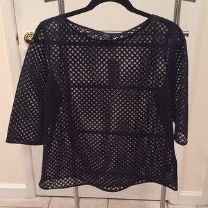 NWT COS lattice detail sheer boxy blouse - size m
